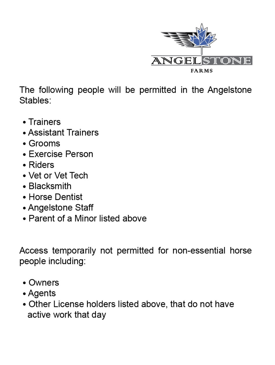 2020.06.11.99.99 Events COVID-19 Regulations at Angelstone Appendix